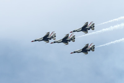 The USAF Thunderbirds flying the F-16 Fighting Falcon