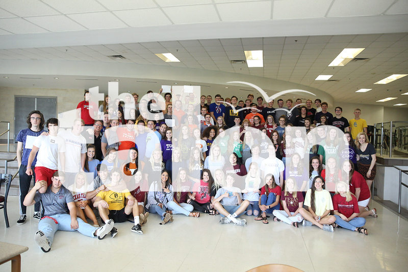 Seniors share their college pride by wearing gear at Argyle High School on 4/18/12 in Argyle, Texas. (Photo by (GiGi Robertson)/ The Talon News)