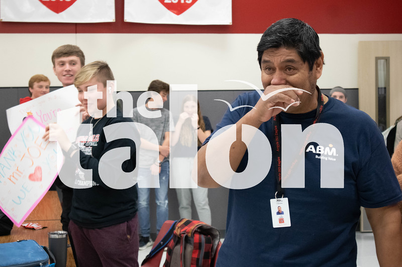 """Long time employee """"Janitor Joe"""" celebrates his last day of work at the high school. (Jaclyn Harris / The Talon News)"""