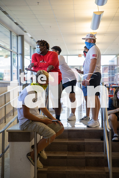 Argyle students show 9th graders around the Argyle High School campus as they adjust to a new school on August 15, 2020. (Katie Ray | The Talon News)
