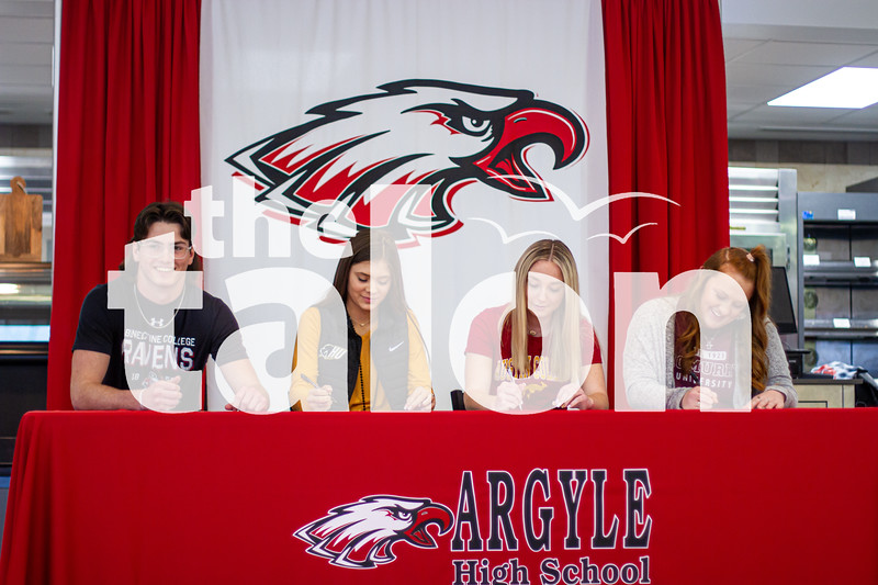 Four Argyle athletes participate in signing day at Argyle High School on Feb. 6, 2020. (Alex Daggett   The Talon News)