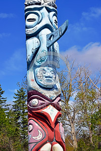 TotPol 00023 A close up of three faces on a totem pole with a long nose totem pole picture by Peter J  Mancus