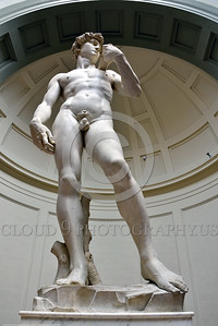 "STY-David 015 A vertical wide-angle perspective that elongated Michelangelo's masterful 14 feet tall of statue of Biblical hero ""David"", slayer of Goliath the giant, statue picture by Peter J  Mancus"