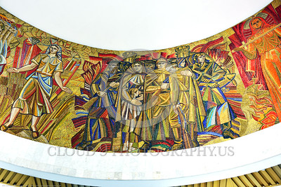 KIEV WWII MUSEUM 0004 Part of a large circular 360 degrees Soviet style mural in a World War II museum in Kiev, Ukraine, picture by Peter J  Mancus