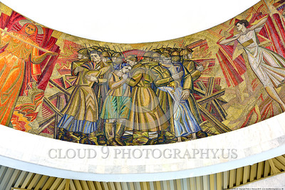 KIEV WWII MUSEUM 0006 Part of a large circular 360 degrees Soviet style mural in a World War II museum in Kiev, Ukraine, picture by Peter J  Mancus