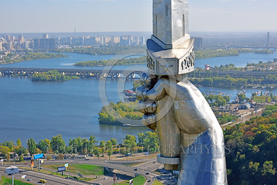 "STY-Motherland 0016 Close up of the sword hand of the ""Mother Motherland"" statue in Kiev, Ukraine, with the Dnieper River in the background, picture by Peter J  Mancus"
