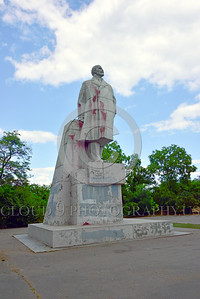 STY-VLenin 0007 Red paint thrown against this statue of Bolshevik leader Vladimir Lenin in Odessa, Ukraine reveals Ukrainian's hatred for this major Russian communist founder and leader, by Peter J  Mancus