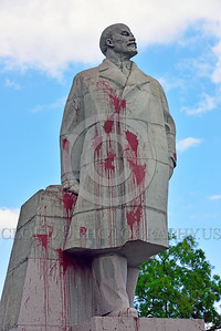 STY-VLenin 0001 Red paint thrown against this statue of Bolshevik leader Vladimir Lenin in Odessa Ukraine reveals Ukrainian's hatred for this major Russian communist founder and leader, by Peter J  Mancus
