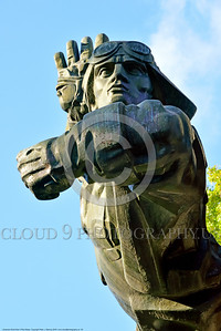 Ukrainian WWII Pilot Statue 0003 One of mulltiple pilots in a large statue dedicated to Ukrainian World War II military pilots, statue picture by Peter J  Mancus