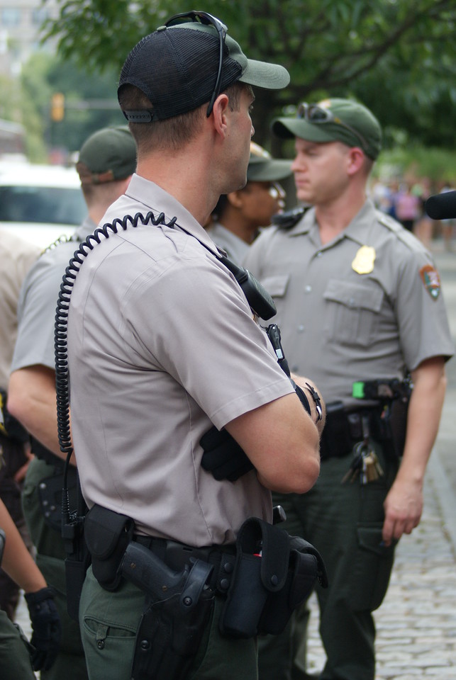 Park Service Police arrest a women near Independence Hall in Philadelphia, after she refused to leave an area that was being closed for police use.