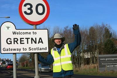 Brian Burnie at Gretna! Almost over the border...