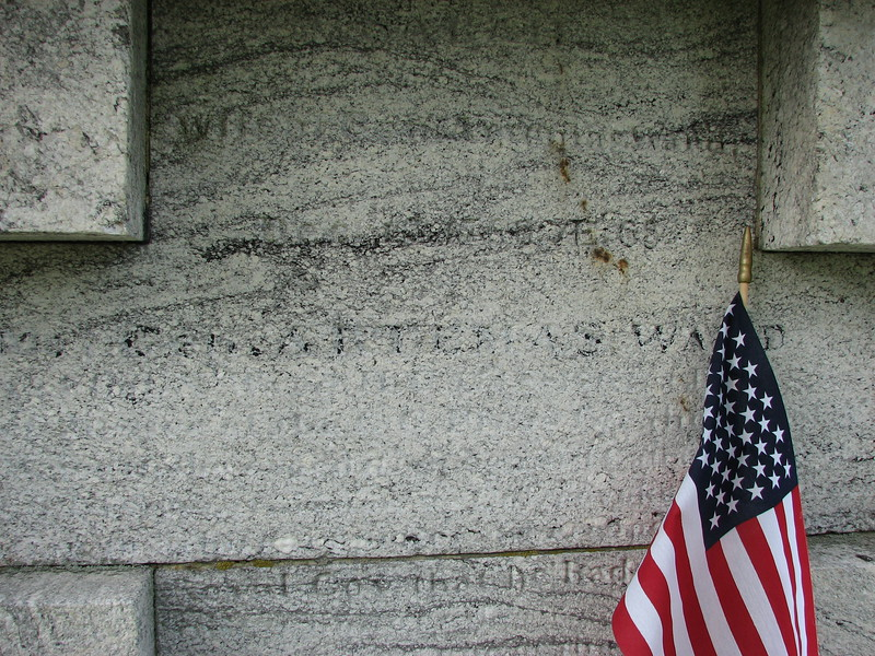 Close up of the inscription of Artemas Ward. Other inscriptions around the monument remember succeeding generations.