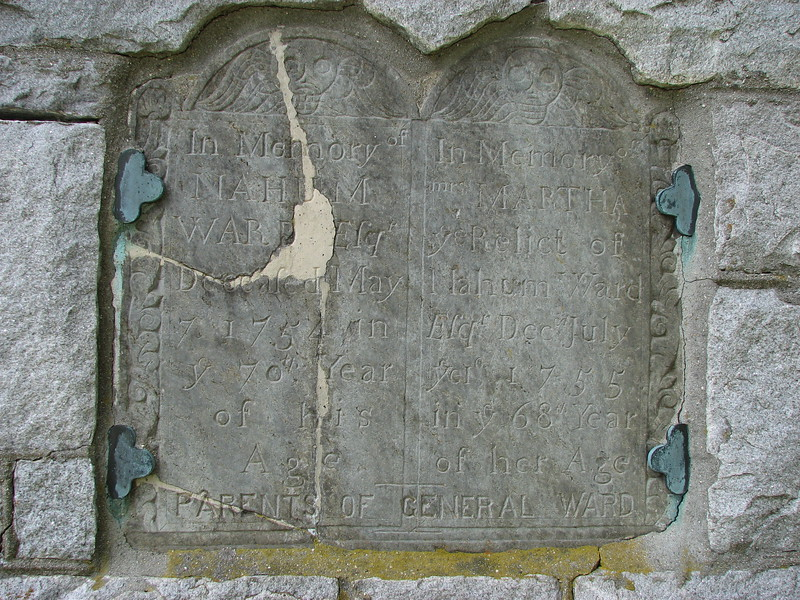 Ward's parents' gravestone, embedded in the side of the gatepost