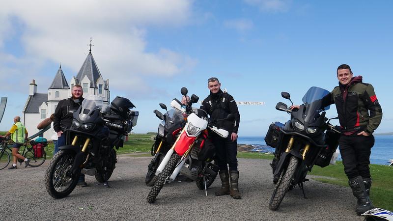 Bikers meet Brian at John O'Groats