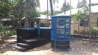 Photograph of a newly constructed community water filter. Photo credit: R. Reddy