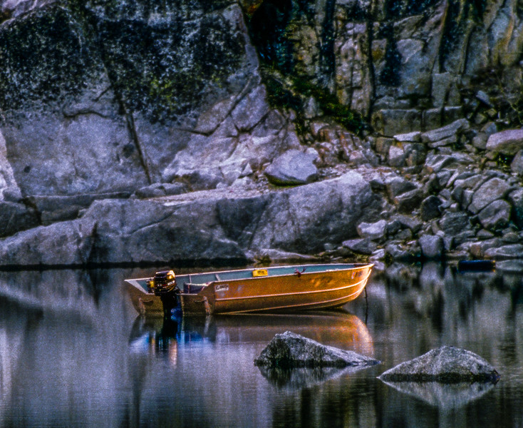 Boat on Lake Sabrina at Sunrise