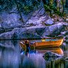 Boat on Lake Sabrina, CA (painting)