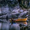 Boat on Lake Sabrina at Sunrise