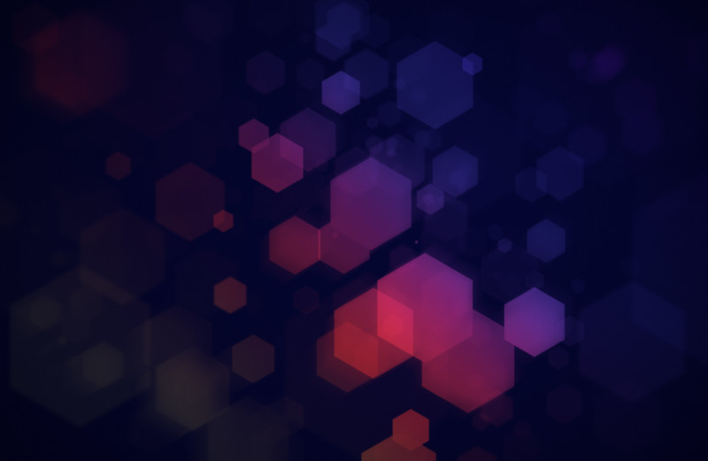 Colorful hexagons on dark blue background