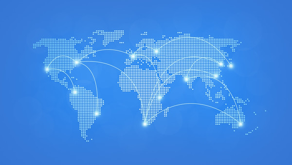 Abstract dotted world map on light blue background with connecting lines