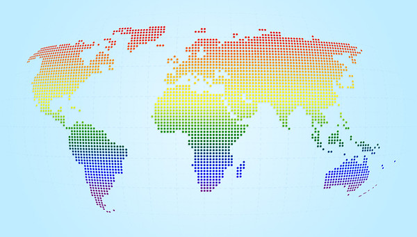 Dotted world map in LGBT rainbow flag's color