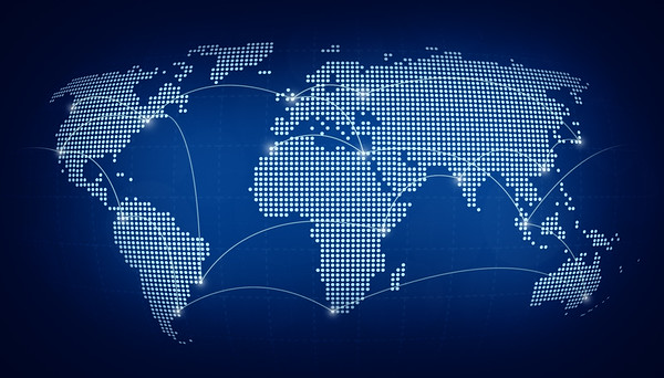 Abstract dotted world map on blue background with connecting lines