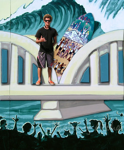 Meet DrewToonz (Andrew Miller) himself!  Standing on his mural bridge Drew is one of my favorite artists - his art brings a smile to my face everytime! 2003 Andrew Miller, artist