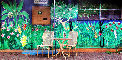 Planet Surf art detail  DrewToonz painted the entire building in wonderful murals.  Photographed in 2003. The surf shop moved into Hale'iwa Town, the building has been repainted grey and is empty as of late 2008.  Corner of Pupukea and Kamehameha Hwy, across from Foodland, and Shark's Cove  North Shore of O'ahu Andrew Miller, artist