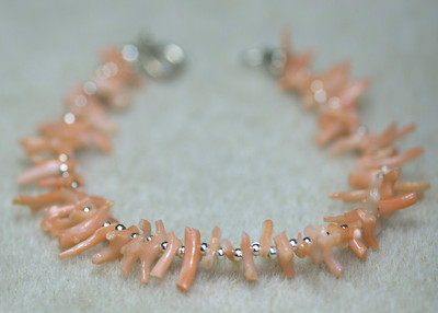 Coral pieces and Silver Beads