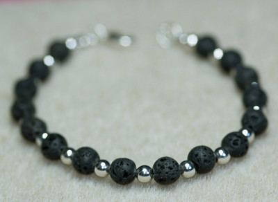 Lava rock beads and Silver Beads