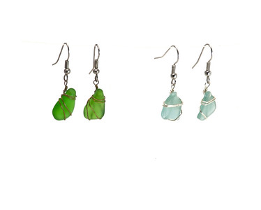beach glass earngs 4760 120505