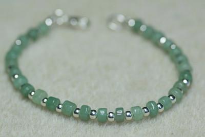 Jade heishi beads & Silver beads