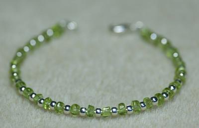 Peridot and Silver beads