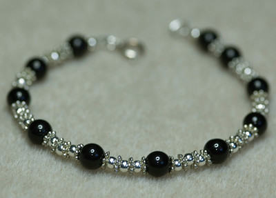 Obsidian and Silver Beads