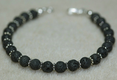 Lava rock beads with Silver spaces