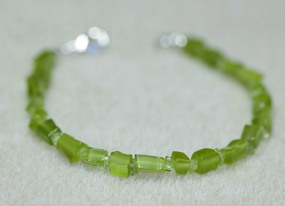 Lime Green Cats Eye and Peridot Chips