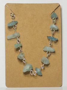 Aquamarine chips on Silver Bracelet