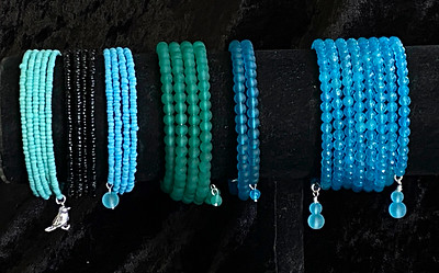 Recycled Glass bead Memory Wire Bracelets