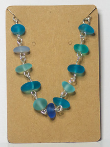 Seaglass on Silver Bracelet