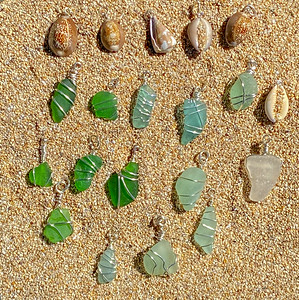 North Shore Beach Seaglass and Seashell Pendants