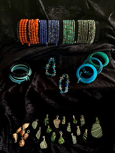 Memory WIre Bracelets and Silver-wrapped Pendants