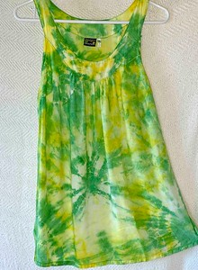 Yellow and Green Tie Dyed long tank blouse