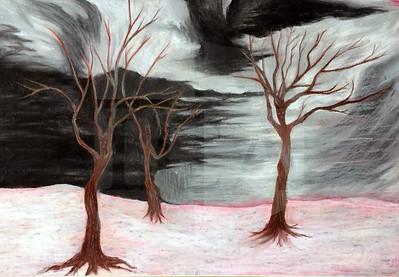 Margaret Guy (11), Dark, Oil Pastels on Paper