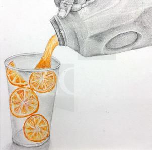 Grace McKeehan (11), Orange Juice, Watercolor and Graphite on Paper