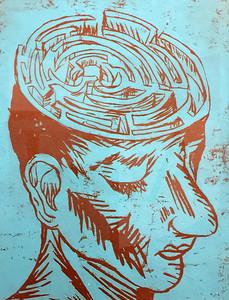Austin Duncan (11), Brain Maze, Linocut on Paper