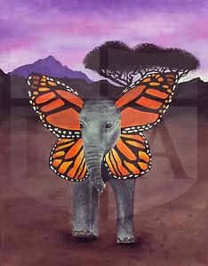 Madi Dyer (11), When Elephants Fly, Acrylic on Canvas