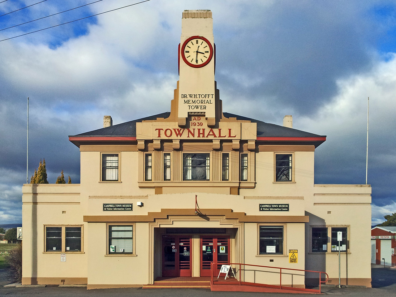 27 July 2015: Town Hall and memorial clocktower, Campbell Town, Tasmania.