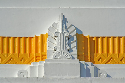 1 August 2014: Detail of main entrance portal parapet moulding, Commonwealth Bank of Australasia building, Grafton, New South Wales.