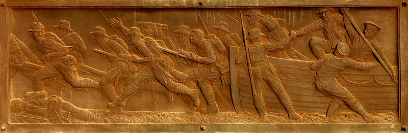 """03 February 2020: Dubbo War Memorial, Dubbo, New South Wales. """"The Landing at Gallipoli"""", bronze plaque."""