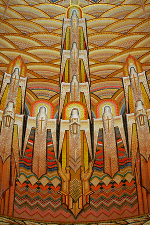 Australian War Memorial, Canberra, Australian Capital Territory; Hall of Memory domed ceiling mosaic (detail), by M Napier Waller.
